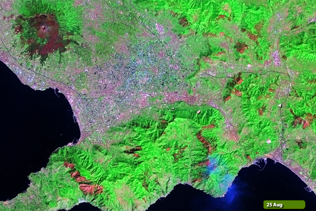Amalfi fires - Landsat 8 on 25 August
