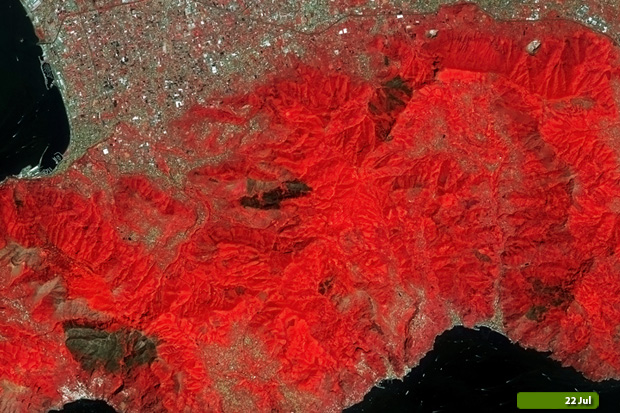 Amalfi fires - Sentinel-2 on 22 July