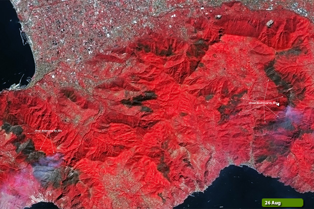 Amalfi fires - Sentinel-2 on 26 August