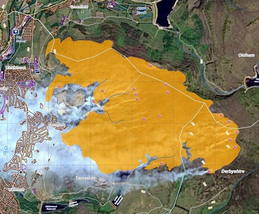 First delineation map, of Manchester wildfire, based on the Landsat-8 acquisition.