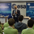 Josef Aschbacher speaking at the first day of the 2019 Space App Camp