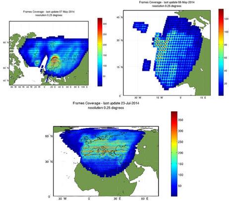 Kiruna, Maspalomas and Matera Landsat 7 ETM density maps