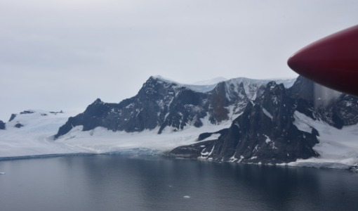 Twin Otter aircraft over Antarctica