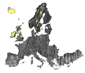IRS-1C/1D PAN data coverage of Europe acquired between 1996 to 1998