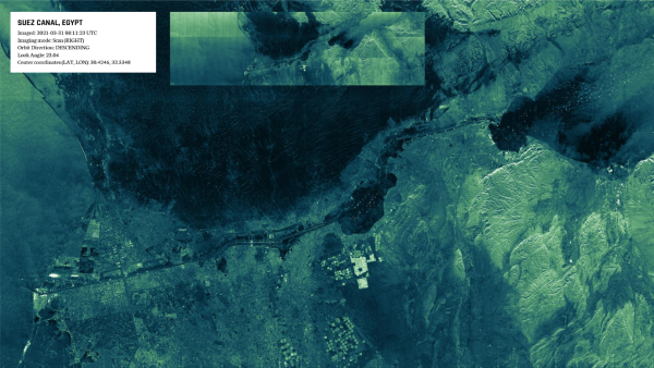 Scan image of the Suez Canal (Egypt), acquired with an ICEYE SAR satellite. Credit: ICEYE.